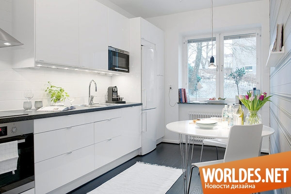 Черно белые кухни маленькие дизайн