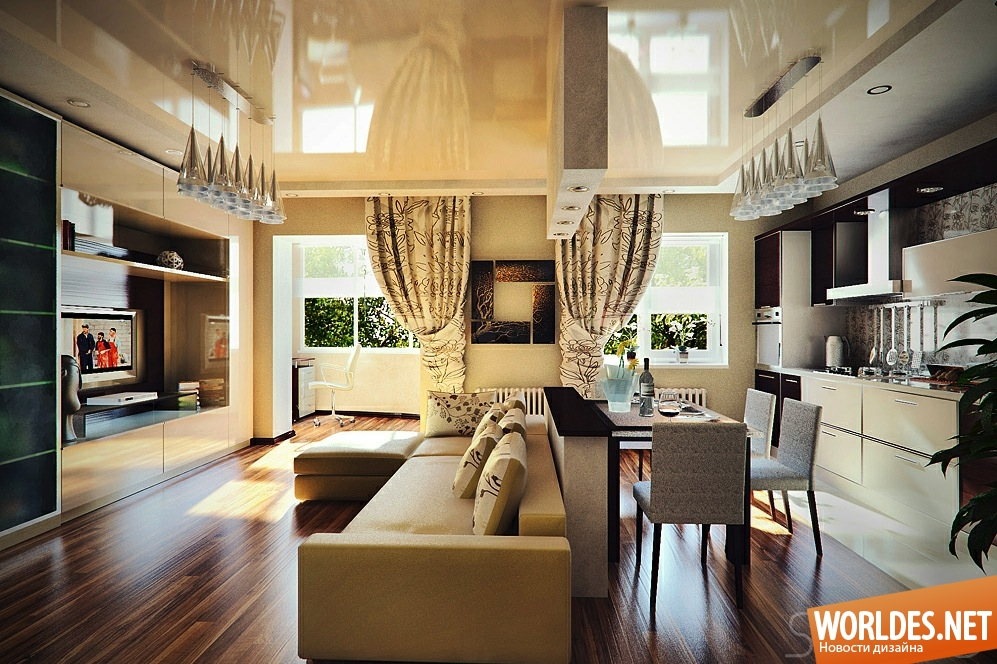 Дизайн столовой-гостиной в квартире
