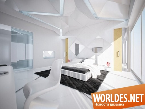 Дизайн красно-белой спальни