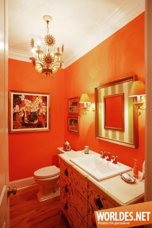 Ванная комната в оранжевом цвете дизайн