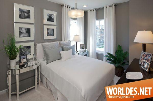 Интерьер спальни в бело серых тонах фото
