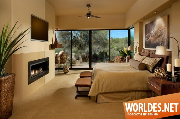 Дизайн спальни с камином в квартире