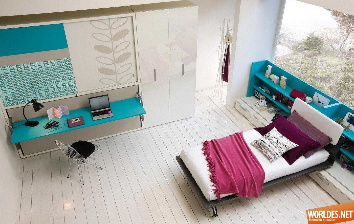 Идеи детской комнаты с многофункциональной мебелью.