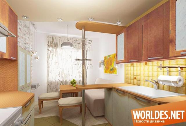 Дизайн кухни с диваном и стойкой