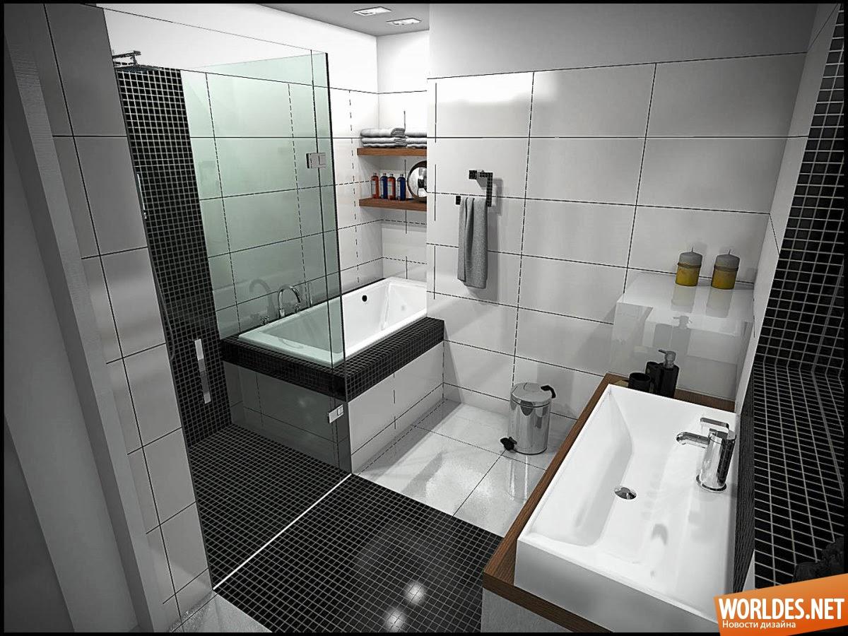 Ванная комната дизайн для маленькой ванны черно белая