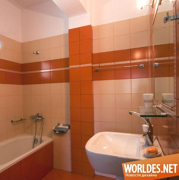 Ванная в оранжевом цвете фото