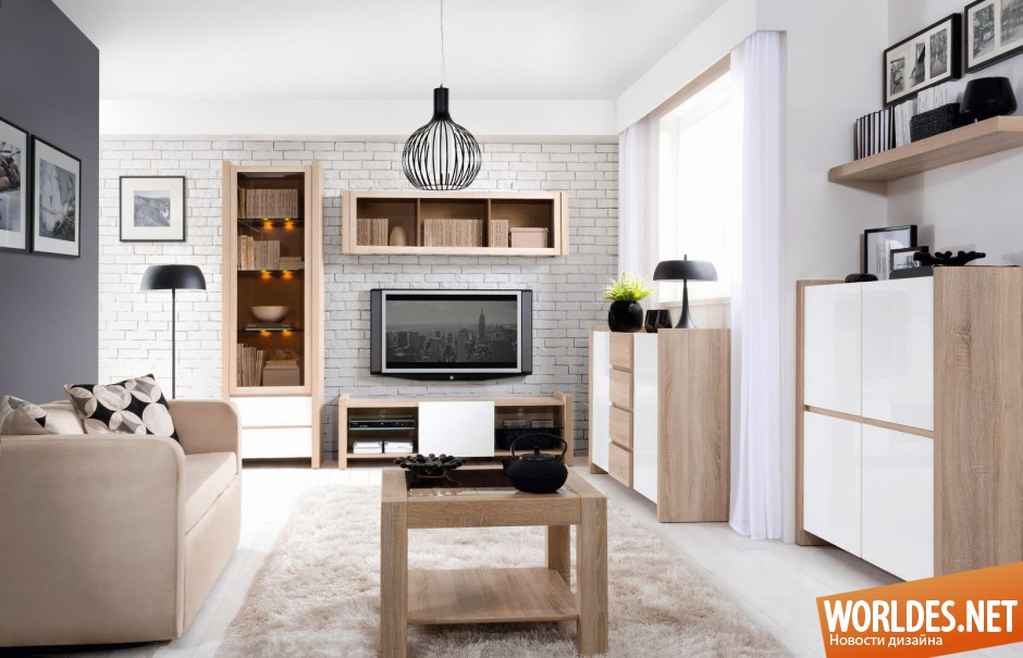 Мебель из светлого дуба в интерьере гостиной фото