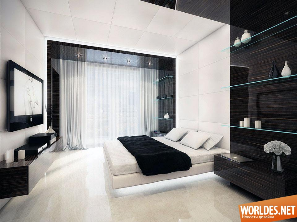 Интерьер спальни в черно белом цвете фото