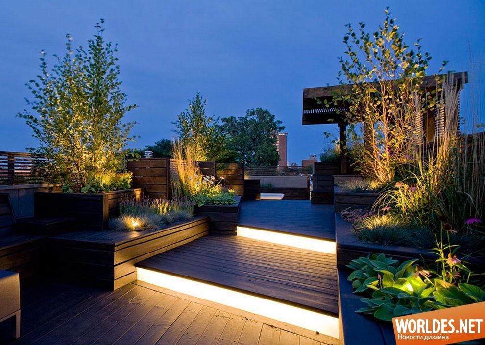 Подсветка двора частного дома