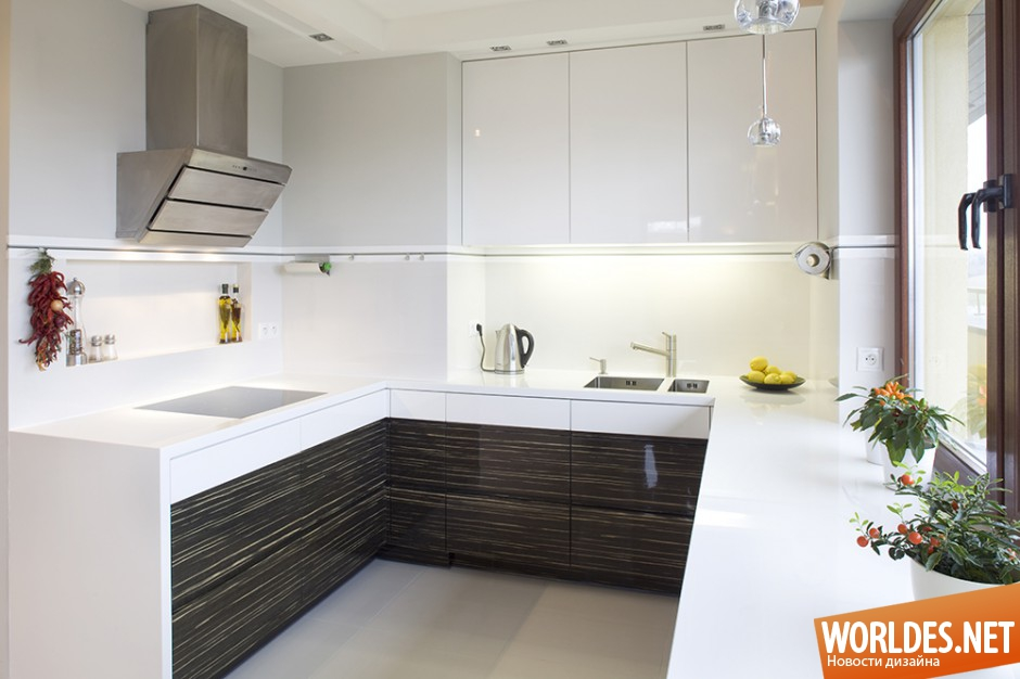 кухня в бело-коричневых тонах фото