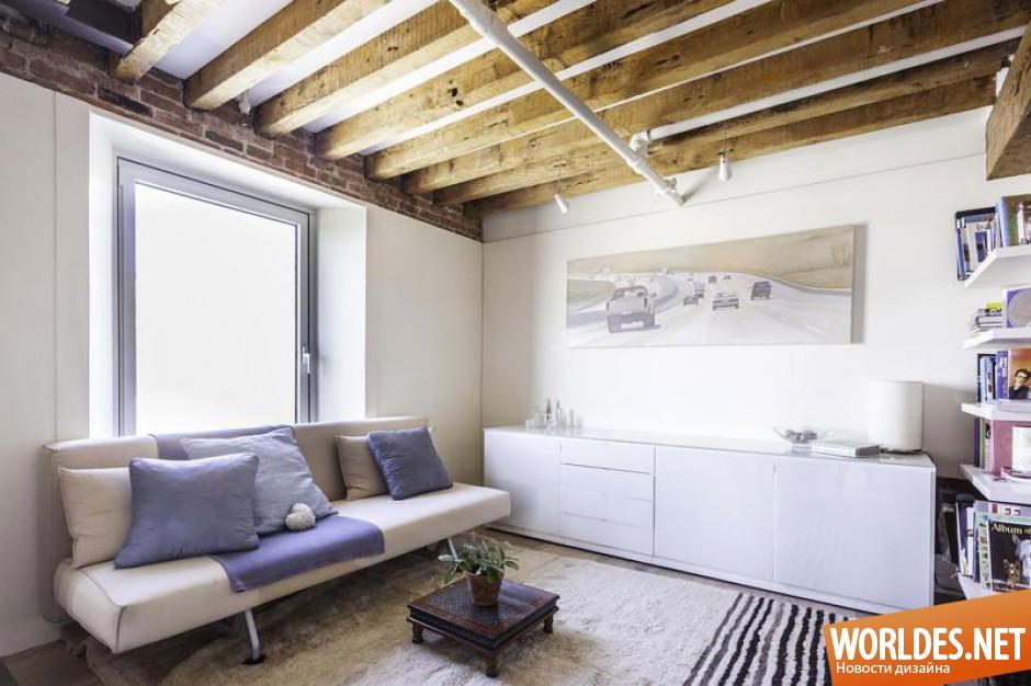 Потолок с балками в квартире дизайн в