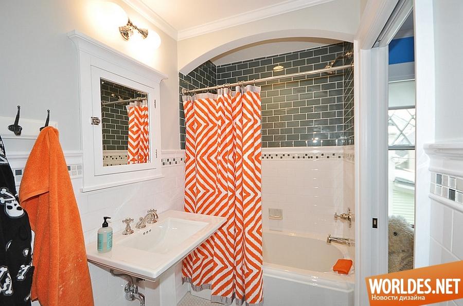 Стильные шторы для ванной комнаты