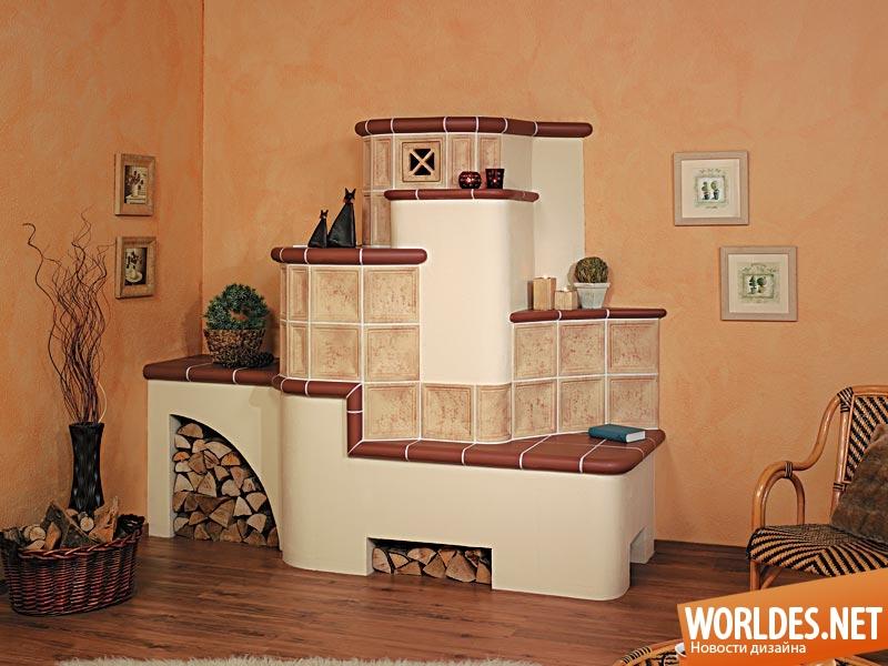 Печка обложенная плиткой дизайн