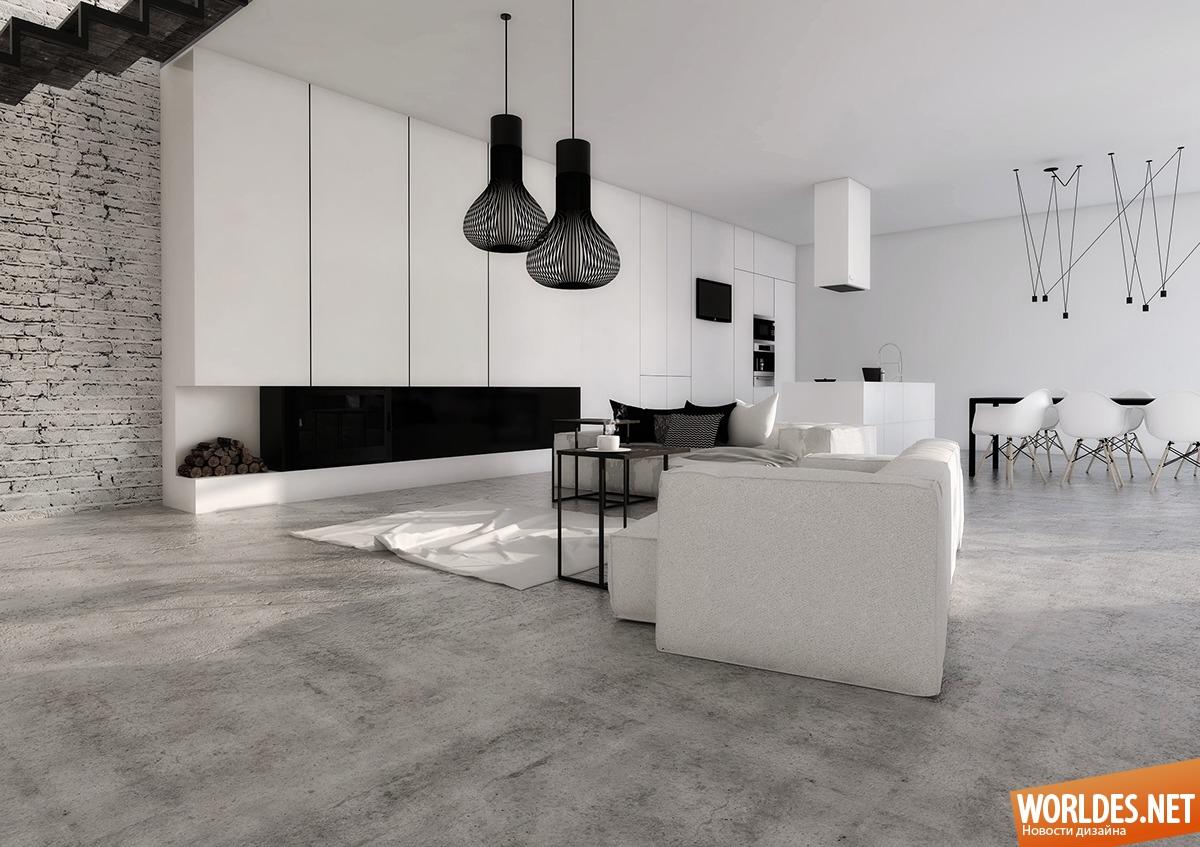Современный дизайн кухни в черно белом
