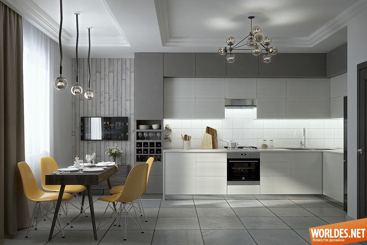 Дизайн кухни в серо-белых тонах