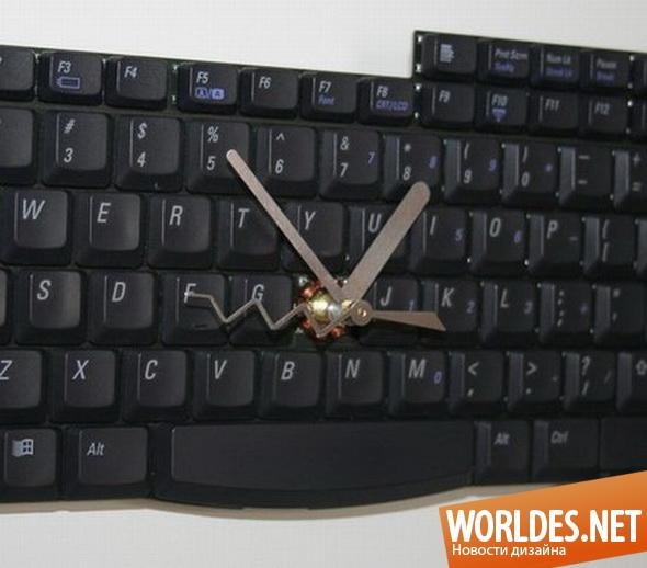 декоративный дизайн, декоративный дизайн часов, дизайн часов, часы, оригинальные часы, декоративные часы, необычные часы, часы, сделанные из клавиатуры