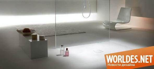 дизайн ванной комнаты, ванная комната, душевая кабина, оригинальная душевая кабина, современная душевая кабина, душевая кабина в полу