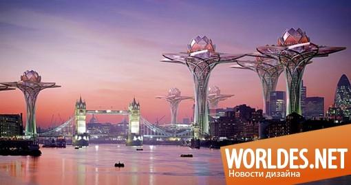 архитектурный дизайн, дизайн города, город, город в облаках