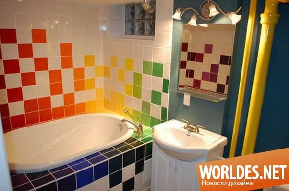 дизайн ванной комнаты, дизайн плитки для ванной комнаты, ванная комната, плитка для ванной комнаты, оформление ванной комнаты, красочная плитка для ванной комнаты