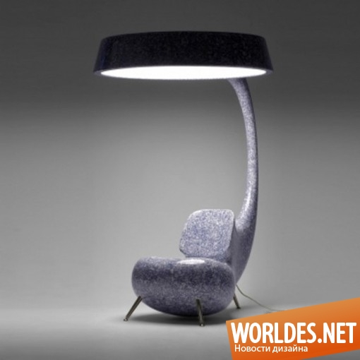 дизайн мебели, дизайн кресла, дизайн оригинального кресла, кресло, оригинальное кресло, современное кресло, необычное кресло, кресло с лампой, кресло и лампа в одном, практичное кресло