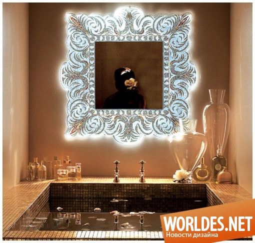 декоративный дизайн, декоративный дизайн зеркала, зеркало, современное зеркало, оригинальное зеркало, мозаичное зеркало, зеркало с мозаики, зеркало с золотом, блестящее зеркало, красивое зеркало, богатое зеркало