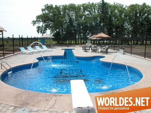 ландшафтный дизайн, дизайн бассейна, бассейн, необычный бассейн, оригинальный бассейн, стильный бассейн, уникальный бассейн, бассейн в форме гитары