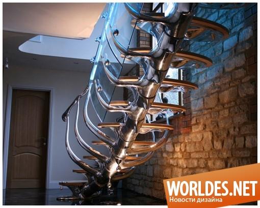 декоративный дизайн, декоративный дизайн лестницы, дизайн лестницы, лестница, необычная лестница, оригинальная лестница, современная лестница, уникальная лестница, лестница в виде скелета