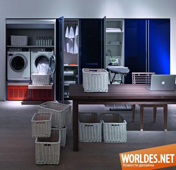 дизайн ванной комнаты, дизайн прачечной, прачечная, прачечная в ванной, оборудованная прачечная, прачечная на дому