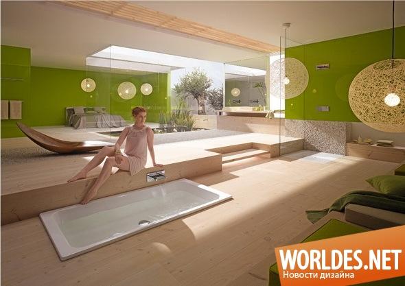 дизайн ванной комнаты, ванная комната, современная ванная комната, зеленая ванная комната, красивая ванная комната, оригинальная ванная комната