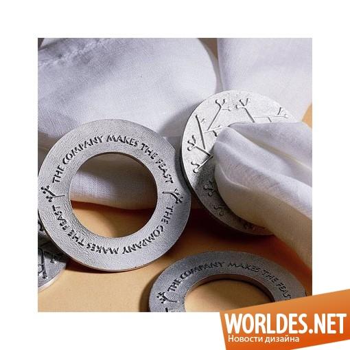 декоративный дизайн, декоративный дизайн колец для салфеток, кольца для салфеток, стильные кольца для салфеток, современные кольца для салфеток
