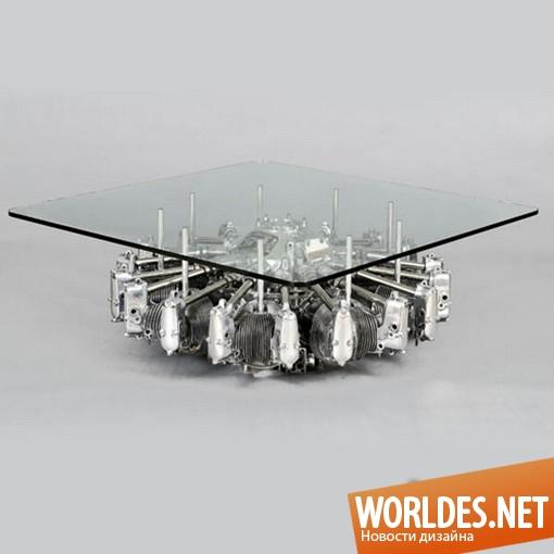 дизайн мебели, дизайн стола, стол, необычный стол, оригинальный стол, стол с двигателя старого самолета, современный стол