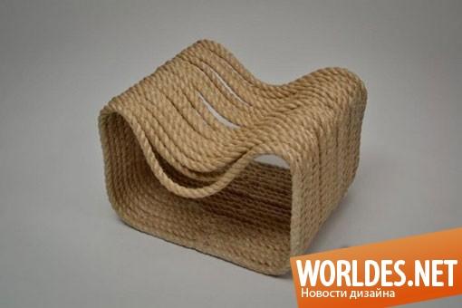 дизайн мебели, дизайн стула, стул, современный стул, оригинальный стул, необычный стул, стул с веревки