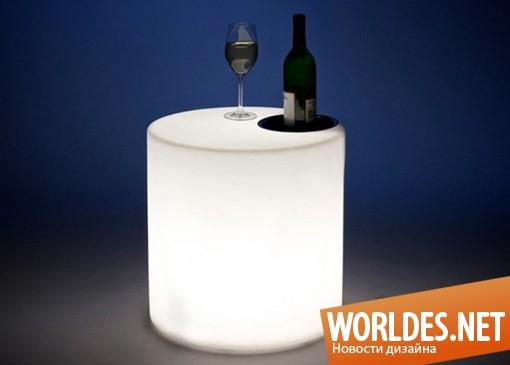 дизайн мебели, дизайн оригинальной мебели, дизайн современной мебели, мебель, современная мебель, оригинальная мебель, необычная мебель, светящаяся мебель, светящийся стул, стул, столик, светящийся столик
