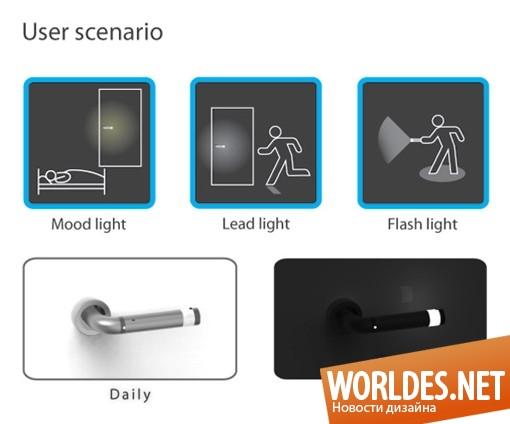 декоративный дизайн, дизайн ручки, ручка, дверная ручка, светящиеся ручки