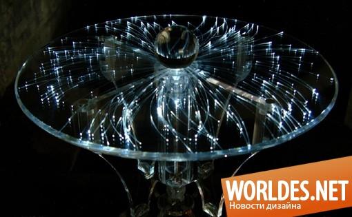 дизайн мебели, дизайн столика, столик, необычный столик, акриловый столик, светящийся столик, прозрачный столик
