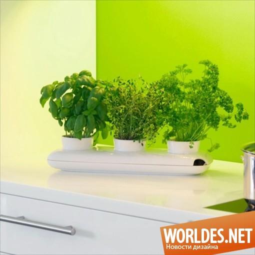 дизайн аксессуаров, дизайн аксессуаров для кухни, дизайн кухонных аксессуаров, дизайн вазы, ваза, вазон, тройной вазон для трав, вазон для хранения трав