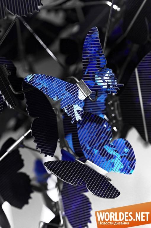 дизайн, Декоративный дизайн, дизайн лампы, дизайн люстры, дизайн освещение, дизайн света, оригинальный светильник, дизайн светильника, Virtue of Blue Chandelier, люстра с бабочками, бабочки, синие бабочки, светящиеся бабочки