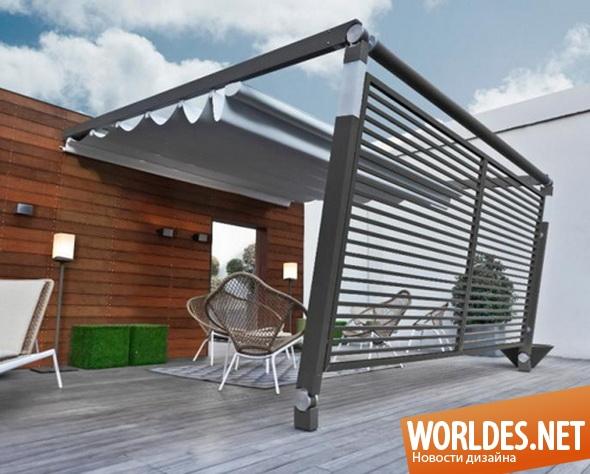 ландшафтный дизайн, дизайн внутреннего дворика, внутренний дворик, дворик под тентом, дворик под накрытием