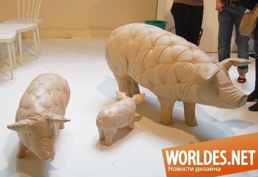дизайн, дизайн мебели, дизайн коллекции мебели, дизайн стульев, стулья в виде животных, сиденья в виде свиней, свинки, свинья