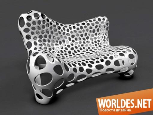 дизайн мебели, дизайн металлической мебели, металлическая мебель, футуристическая мебель, дизайн футуристической мебели, футуристическое кресло, футуристический диван, футуристический стол
