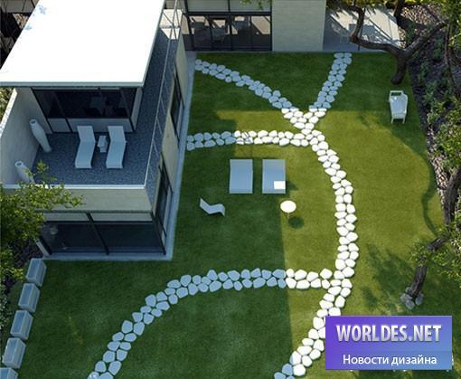 дизайн, ландшафтный дизайн, дизайн дорожки, дизайн садовой дорожки, освещение сада, ландшафтный дизайн дорожки