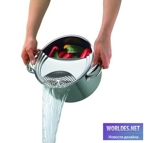 дизайн, дизайн аксессуаров, дизайн аксессуаров для кухни, аксессуары для кухни, практичная крышка, крышка для кастрюли, крышка для слива воды