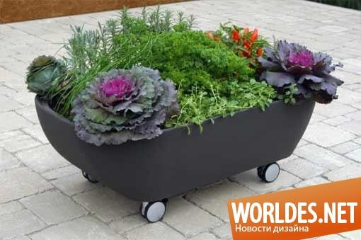 дизайн, ландшафтный дизайн, дизайн сада, дизайн горшка, дизайн горшка на колесах, дизайн цветочного горшка, горшок на колесах