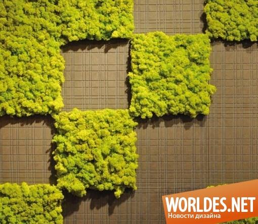 декоративный дизайн стен, декоративные стены, зеленые стены, озеленение стен, дизайн стен, декор стен, дизайнерские стены, зеленые стены